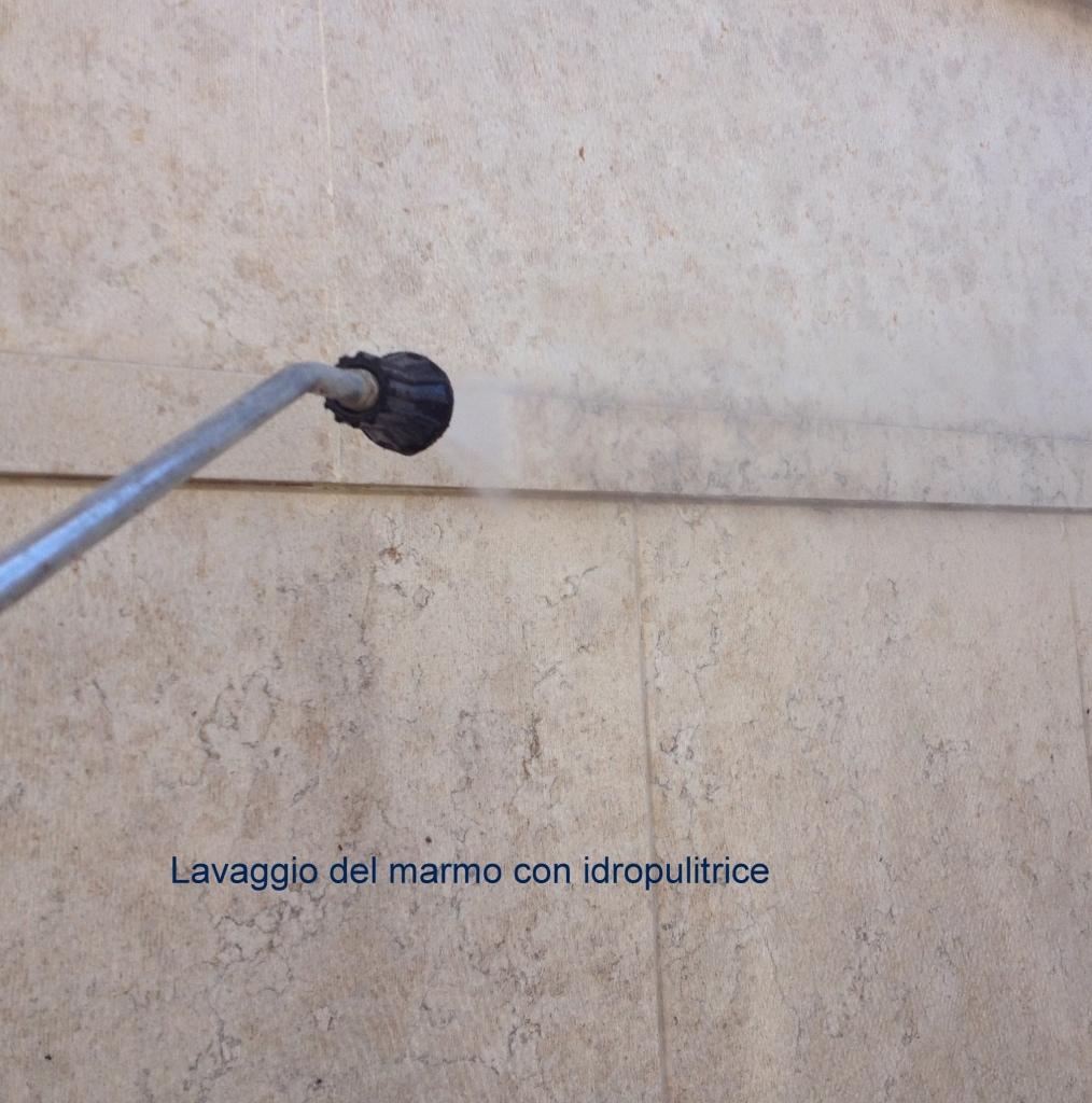 lavaggio marmo con idropulitrice