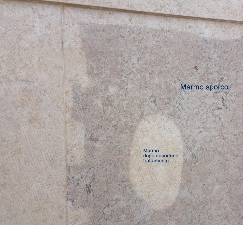 lavaggio marmo con idropulitrice prima e dopo